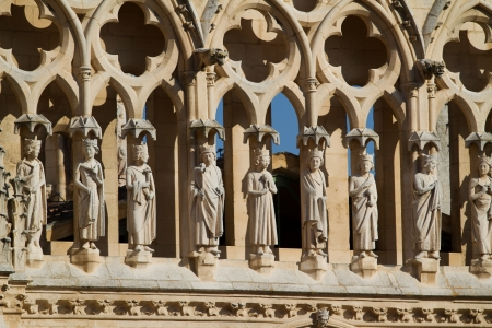 castilla: Detail of Gallery of the Apostles in Gable End of Coroneria Gate in The North Face of Burgos Cathedral, Burgos, Castilla y Leon. Spain