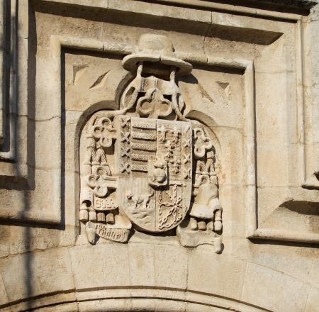cara leon: Escudo de Castilla y Len y The Capello en la cara oeste de la Catedral de Burgos, Burgos, Castilla y Le�n. Espa�a