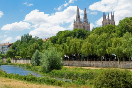 castilla: Arlanzon River with Burgos Gothic Cathedral in Background, Burgos, Castilla y Leon. Spain