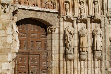 crist: Detail of Door Jambs in Principal Facade of San Esteban Church, Burgos, Castilla y Leon. Spain