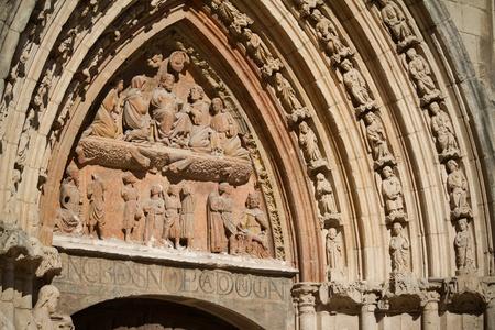 crist: Detail of Tympanum in San Esteban Church, Burgos, Castilla y Leon. Spain