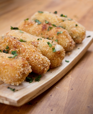 Ration of Croquettes  Typical Tapa of Spanish Cuisine with Rustic Presentation  photo
