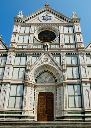 neo gothic: The neo-gothic facade of Basilica di Santa Croce  Florence, Italy Stock Photo