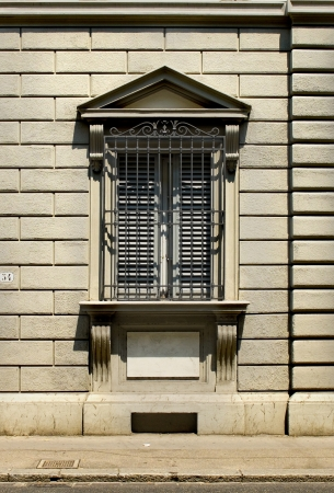 building monumental: Typical window from Florentine architecture in monumental building  Florence, Italy