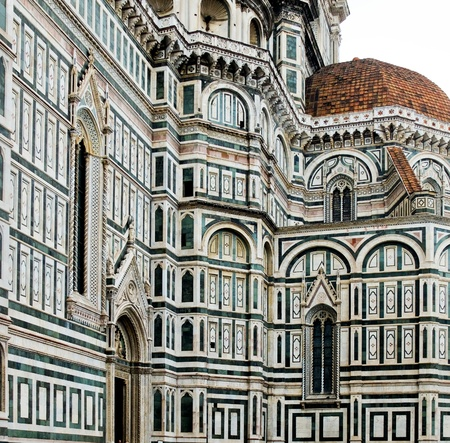 fiore: South side of Florence Cathedral in Opera di Santa Maria del Fiore  Florence, Italy