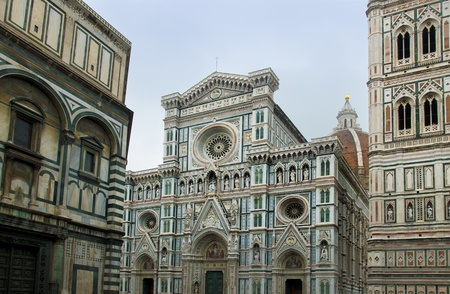 neogothic: The neo-gothic facade of Florence Cathedral in Opera di Santa Maria del Fiore  Florence, Italy