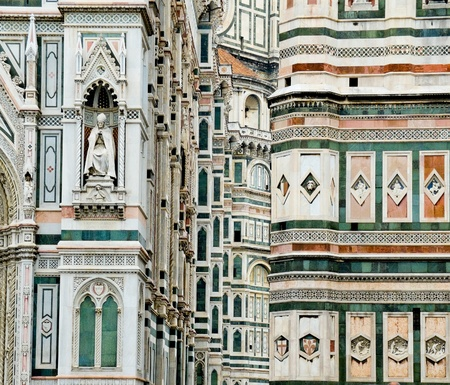 campanille: The neo-gothic facade of Florence Cathedral in Opera di Santa Maria del Fiore  Florence, Italy