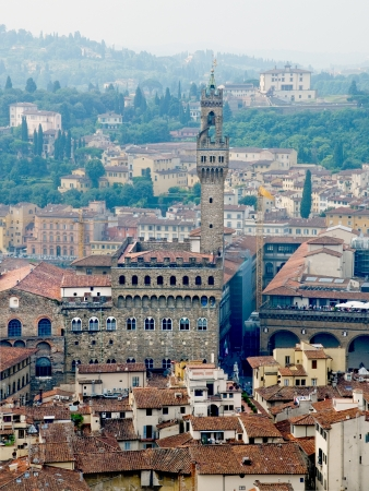 neo gothic: Florence panoramic view and The Palazzo Vecchio and Arnolfo tower in the distance from The Campanile  Florence, Italy