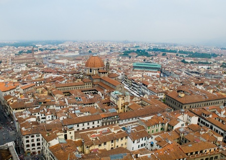 neo gothic: Florence panoramic view and The Basilica di San Lorenzo in the distance from The Campanile  Florence, Italy Stock Photo