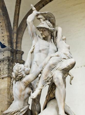 pio: The Rape of Polyxena sculpture by Pio Fedi in Loggia della Signoria  Florence, Italy