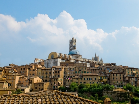 campanille: Siena view with the Duomo in top  Siena, Italy