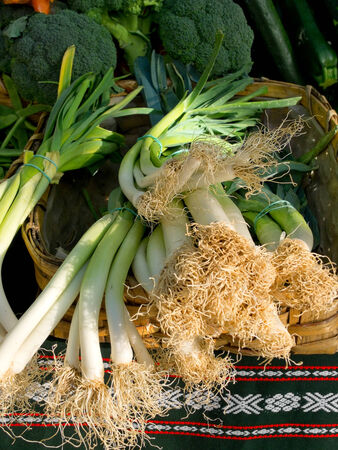 scallion: Organic scallion in a market