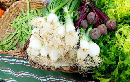 endive: Green beans, beet, scallion and endive in a market