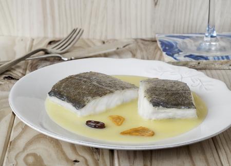 bacalao: Cod with pil-pil sauce (Bacalao al pil pil), Basque cookery.