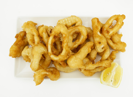 calamares: Typical spanish tapas. Fried squid rings ration. (Racion de Calamares fritos)