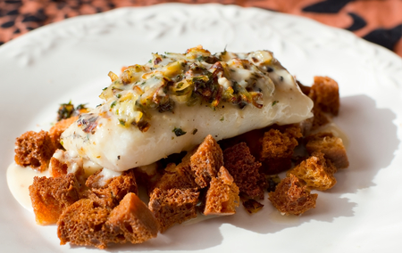 hake: Grilled Hake with toast bread and picata. Typical mediterranean dish. Stock Photo