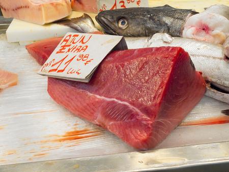 Almadraba Red Tuna piece in a market. Atlantic and mediterranean tuna. photo
