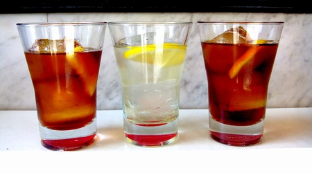 vermouth: Red and white vermouth in a bar. Stock Photo