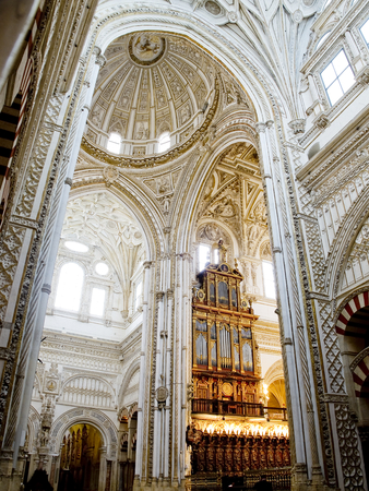nave: Aisle, nave and organ of Cathedral Mosque, Mezquita de Cordoba. Andalusia, Spain.