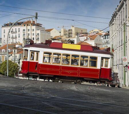 bairro: Lisbon tram in Bairro Alto district, Lisbon. Portugal. Stock Photo