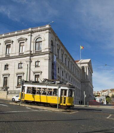 trams: Parliament and tram in Lisbon Bairro Alto district. Lisbon, Portugal. Editorial