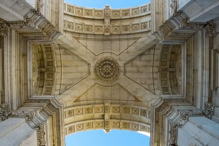 triumphal: Inside of Arco da Rua Augusta (Rua Augusta Triumphal Arch) in Lisbon. Lisbon, Portugal. Stock Photo