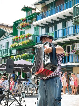 cantabrian: Basque accordionist playing popular music in a street of Fuenterrabia Hondarribia Guipuzcoa. Spain