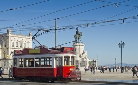 tramcar: February 28 2015 Lisbon Portugal Lisbon Hills Tramcar Tour in Praca do Comercio. The red line is the tourist That line connects the hills of the city. Lisbon Portugal. Editorial