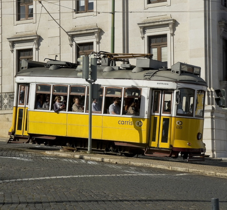 tramcar: February 27 2015 Lisbon Portugal Lisbon Hills Tramcar Tour in Bairro Alto district. The Lisbon trams are one of the main attractions. Lisbon Portugal.