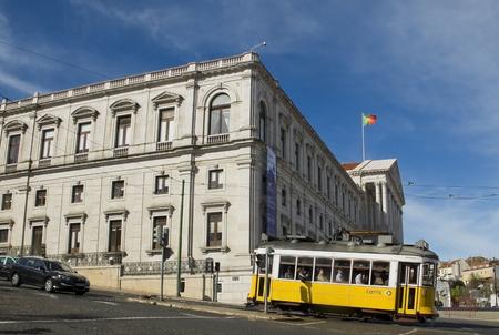 bairro: February 27 2015 Lisbon Portugal Parliament and tram in Lisbon Bairro Alto district. The Lisbon Parliament is in The Palacio de Sao Bento. Lisbon Portugal. Editorial