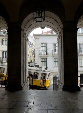 bairro: Lisbon tram in Lisbon Portugal Lisbon Bairro Alto district. Portugal. Editorial