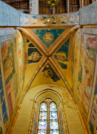 gothica: Ceiling of Peruzzi Chapel in right transept of Basilica di Santa Croce. Florence Italy Editorial