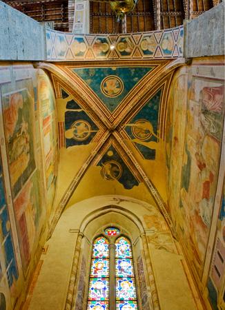 Ceiling of Peruzzi Chapel in right transept of Basilica di Santa Croce. Florence Italy Editorial