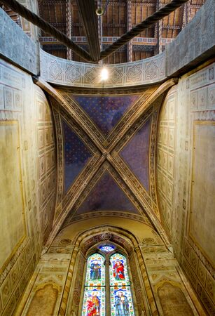 Ceiling of Velluti chapel in right transept of Basilica di Santa Croce. Florence Italy Editorial