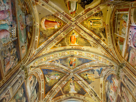 gothica: Ceiling of Castellani Chapel in right transept of Basilica di Santa Croce. Florence Italy Editorial