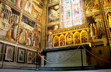 Baroncelli Chapel in right transept of Basilica di Santa Croce. Florence Italy