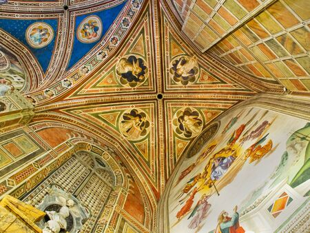 Ceiling of Baroncelli Chapel in right transept of Basilica di Santa Croce. Florence Italy Editorial