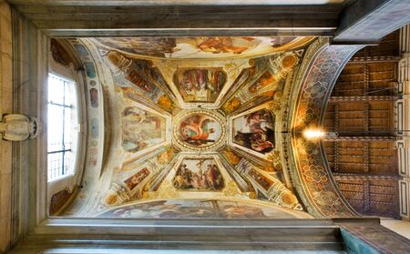 Ceiling of Giugni chapel in right transept of Basilica di Santa Croce. Florence Italy