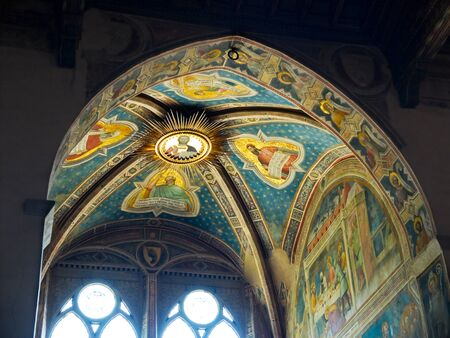 gothica: Ceiling of Rinuccini chapel in right transept of Basilica di Santa Croce. Florence Italy
