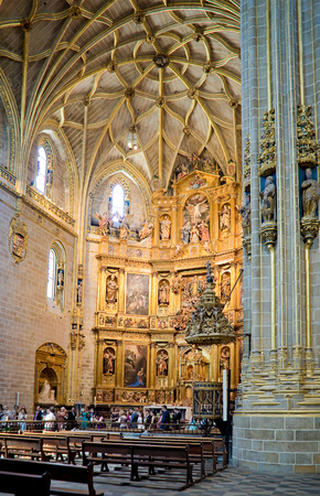 Altarpiece in the nave of Cathedral of Santa Maria Caceres of Plasencia Extremadura. Spain Editorial