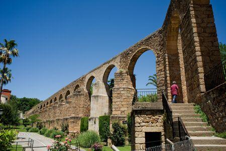 anton: Arches of San Anton Aqueduct of Caceres Extremadura. Spain Stock Photo