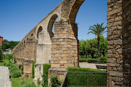 patrimony: Arches of San Anton Aqueduct of Caceres Extremadura. Spain Stock Photo