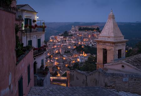 ragusa: Ragusa Ibla cityscape at night in Val di Noto. Sicily, Italy. Stock Photo