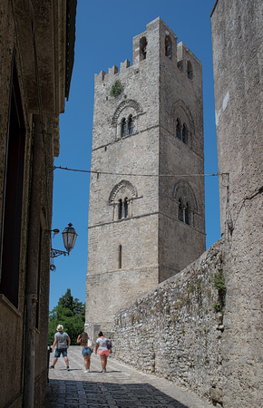 erice: Cathedral of Erice, Santa Maria Assunta, Chiesa Madre Matrice or main church in Erice, province of Trapani. Sicily, Italy.