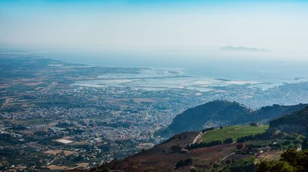 erice: Saltworks in gulf of Trapani. Province of Trapani. Panoramic landscape from Erice, Sicily, Italy. Stock Photo