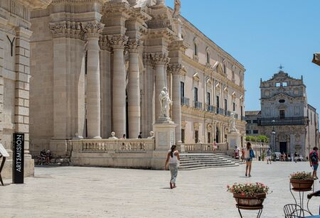 syracuse: Main facade, baroque style, of Syracuse Cathedral in Piazza del Duomo Square Ortigia in Siracusa, Italy.