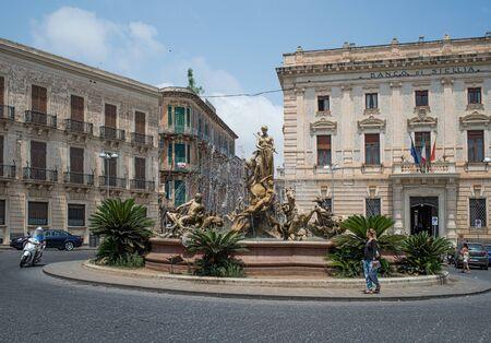 ortigia: Artemis fountain in Archimede square Giulio Moschetti With sculpture dedicated to mythology in 1907.Archimede square, Ortigia Siracusa, Sicily, Italy