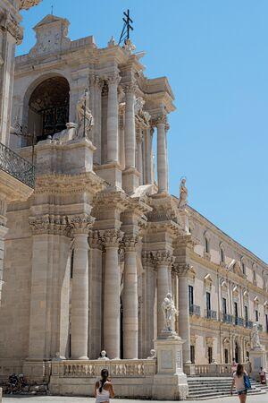 ortigia: Main facade, baroque style, of Syracuse Cathedral in Piazza del Duomo Square Ortigia in Siracusa, Italy.