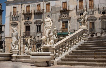 piazza: Fontana Pretoria in piazza Pretoria in Palermo, Sicily. Italy. Editorial