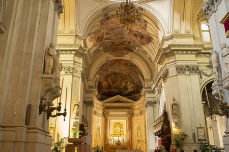 high altar: Chancel altar and apse in Metropolitan Cathedral of the Assumption of Virgin Mary.Cathedral church of the Roman Catholic Archdiocese of Palermo. Palermo. Sicily, Italy. Editorial